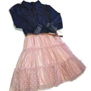 Lilt girls belted denim & pink ruffle dress